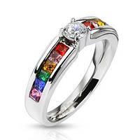 Женское кольцо из ювелирной стали с фианитами