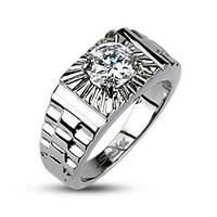 Мужское  кольцо из ювелирной стали с вставкой крупного фианита