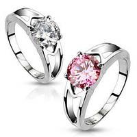 Женское кольцо из ювелирной стали с фианитом