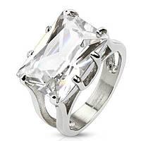 Женское кольцо из ювелирной стали с большим камнем фианита