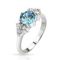 Женское кольцо из ювелирной стали с бирюзовым камнем и россыпью белых фианитов