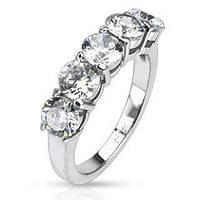 Женское кольцо из ювелирной стали с вставками фианитов