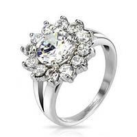 Женское  кольцо из ювелирной стали с цветочком из фианитов