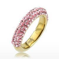 Женское  кольцо из ювелирной стали с розовыми фианитами