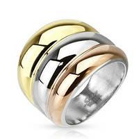 Женское  кольцо из ювелирной стали три цвета