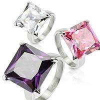 Женское  кольцо из ювелирной стали с большим камнем розового,серого,фиолетового Фианита