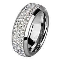 Женское  кольцо из ювелирной стали Swarovski Elements стальное 5мм