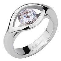 Женское  кольцо из ювелирной стали с крупным фианитом стальное