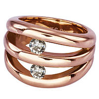 Женское  кольцо из ювелирной стали с фианитами и позолотой