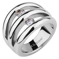 Женское  кольцо из ювелирной стали с фианитами стальное