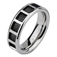 Мужское кольцо из ювелирной стали инкурстировано карбоновой сеткой стальное