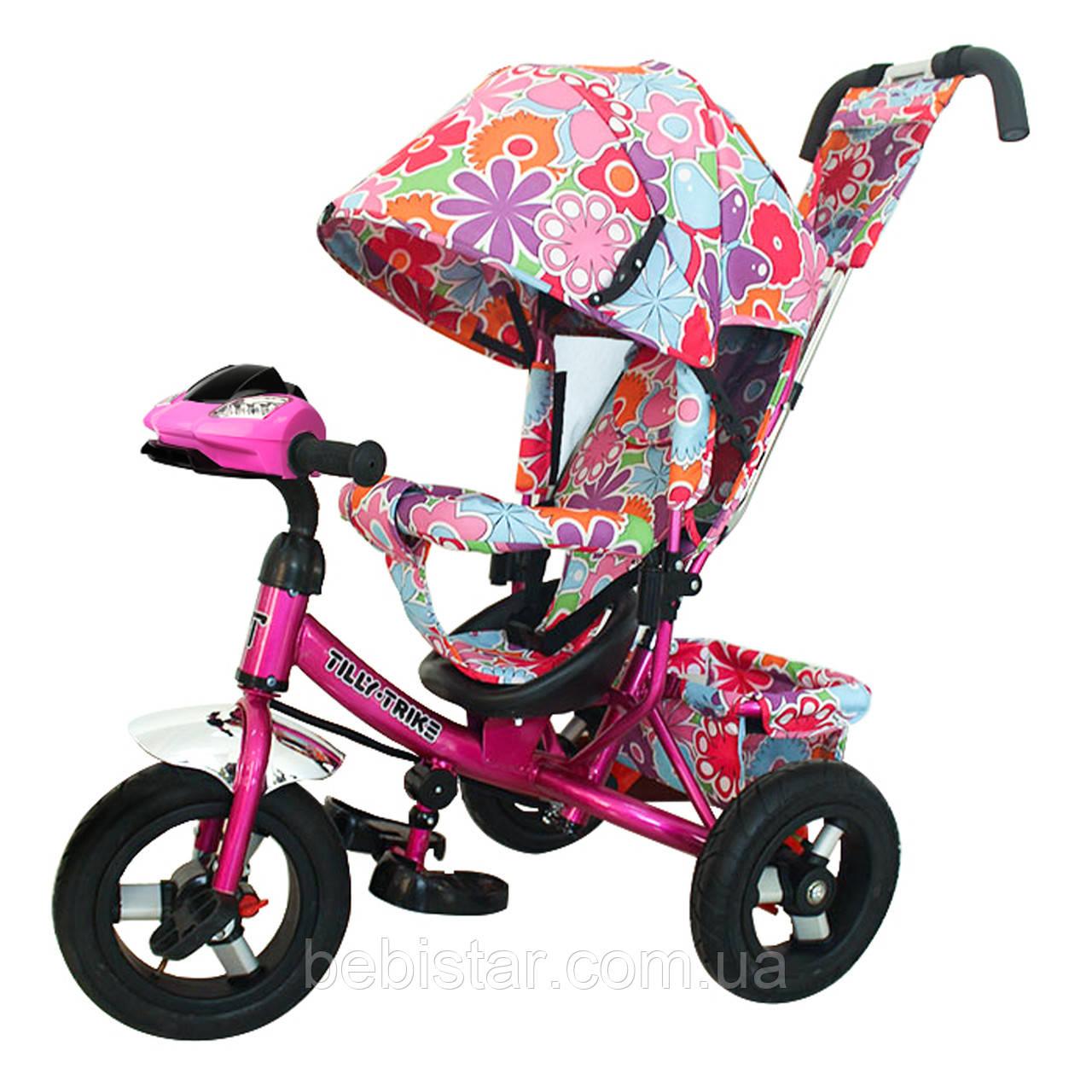Детский трехколесный велосипед музыка свет TILLY Trike T-363-1 надувные колеса малиновый