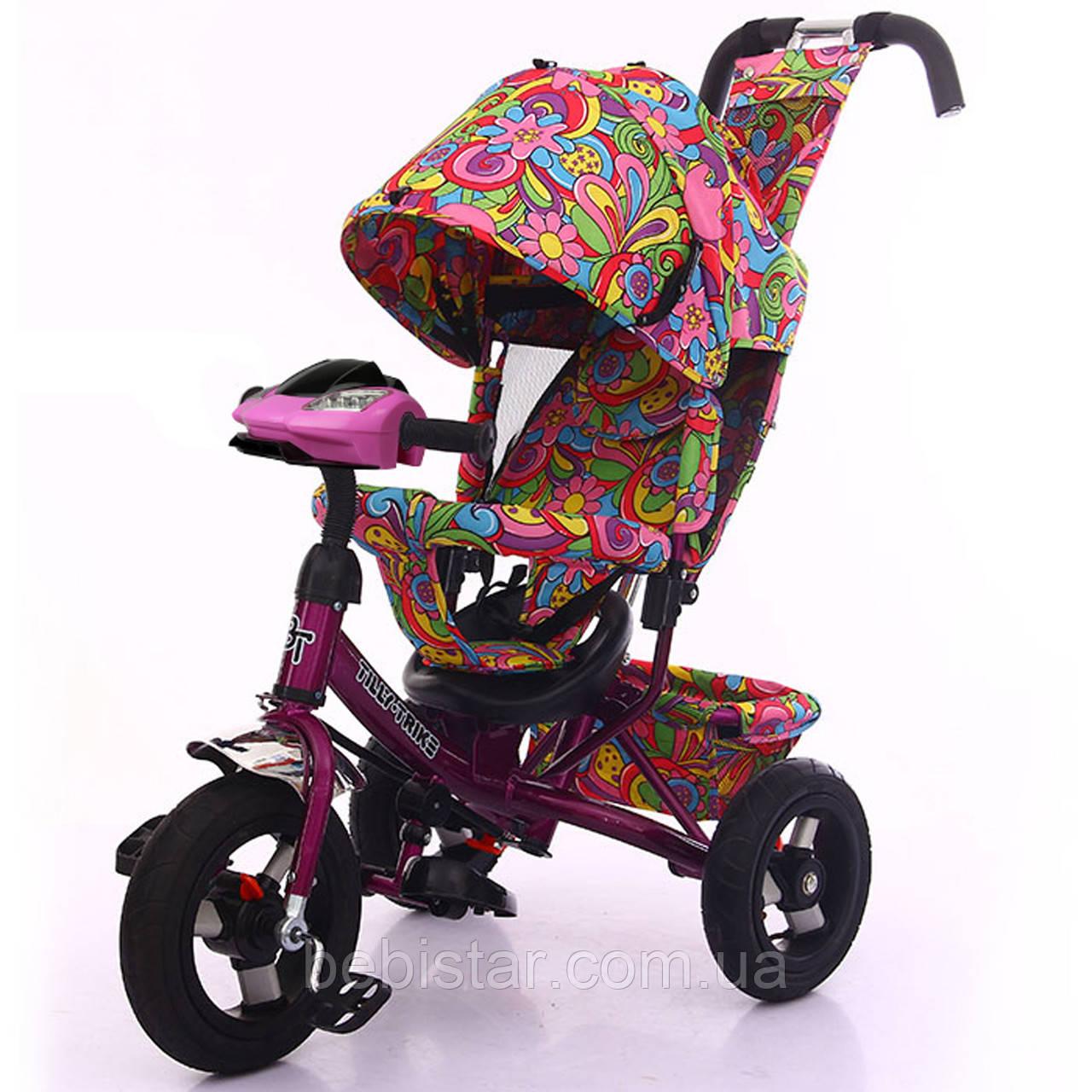 Детский трехколесный велосипед музыка свет TILLY Trike T-363-2/1 надувные колеса фиолетовый