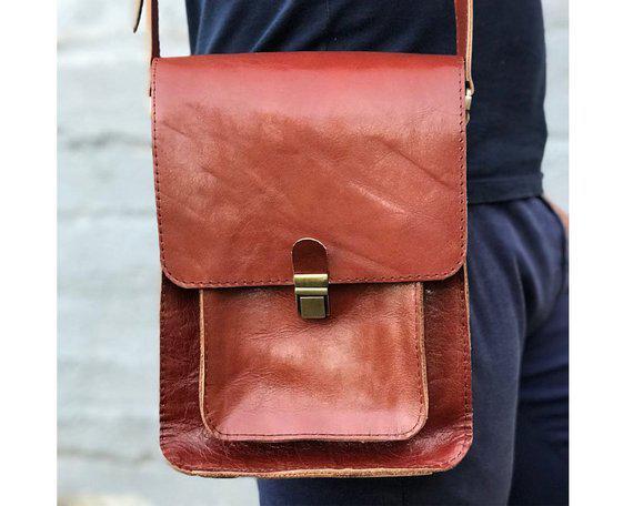 0f00951ba02a Кожаная коричневая сумка crossbody мужская. Купить в интернет ...