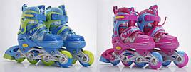 Ролики, метал. рама, колеса PU, 1 свет., 2 цвета, р. L 39-42, в сумке 30*22см (6шт)