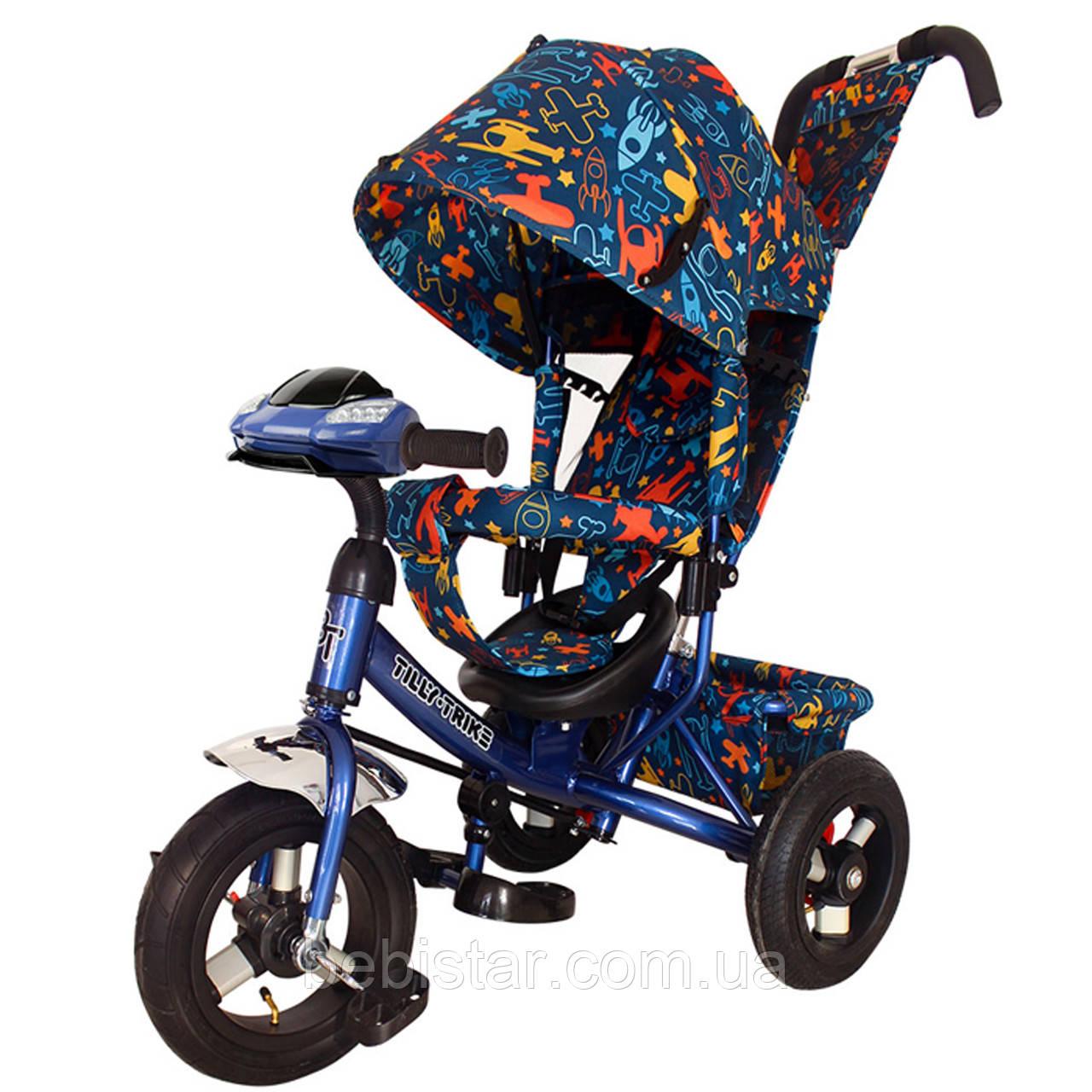 Детский трехколесный велосипед музыка свет TILLY Trike T-363-3/1 надувные колеса синий