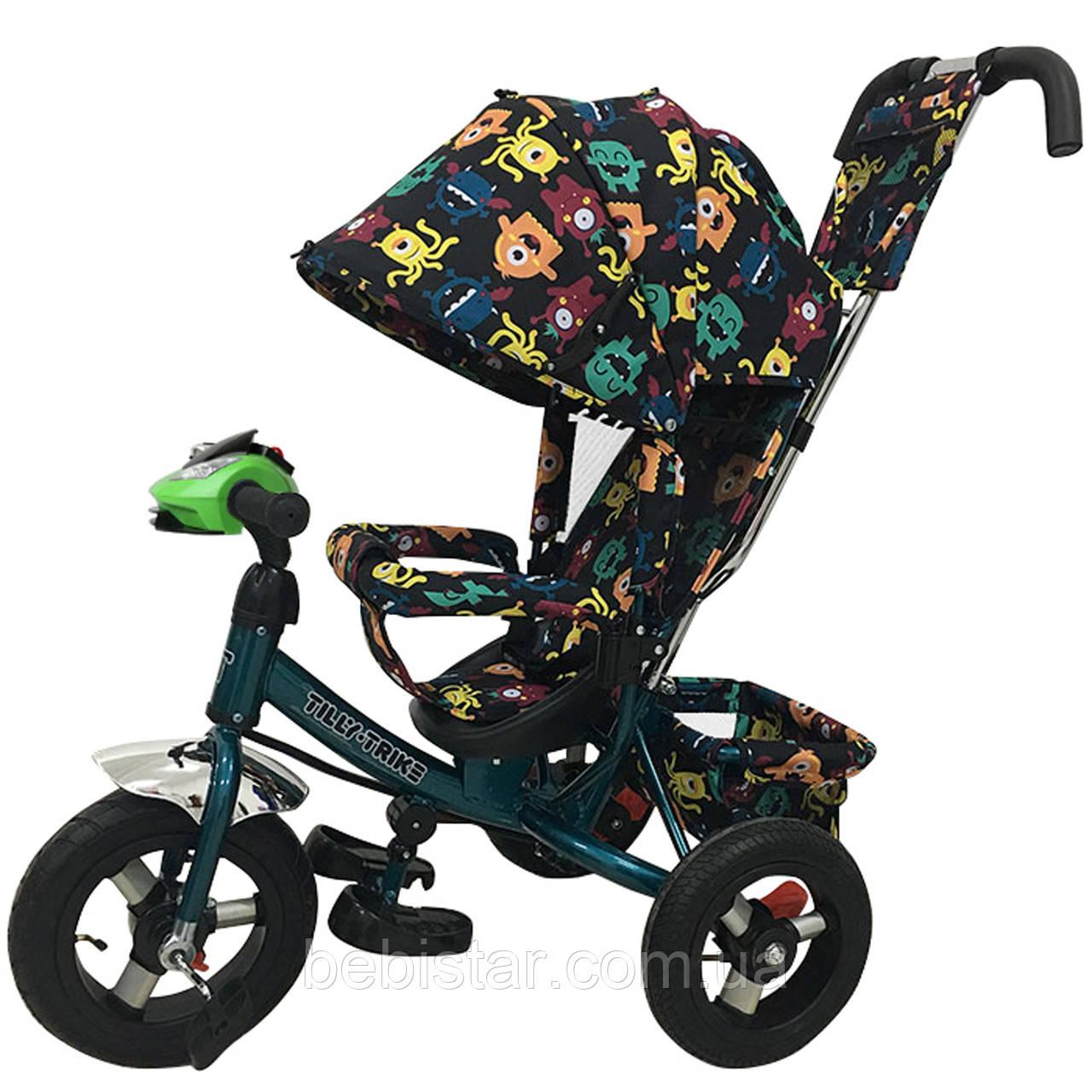 Детский трехколесный велосипед музыка свет TILLY Trike T-363-4 надувные колеса бирюзовый