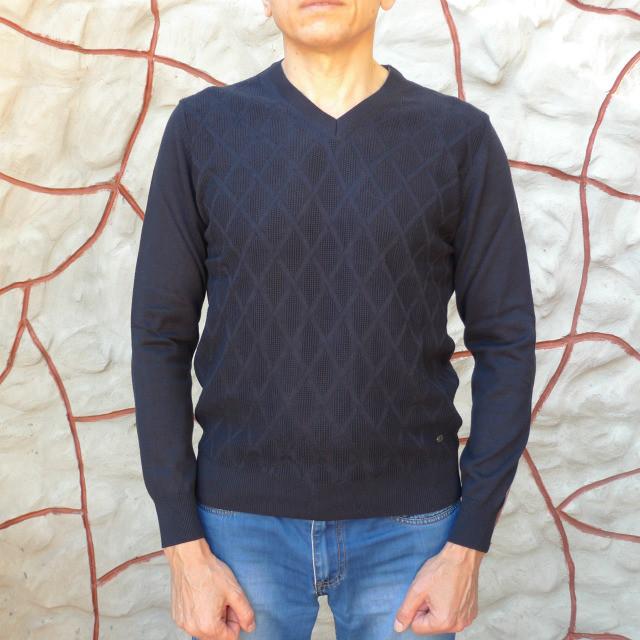 Темно-синий свитер Tony Montana с вырезом мыс