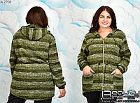 Теплая женская кофта большого размера  50.52.54.56.58.60.62.64, фото 1