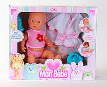 Кукла Falca, пупс, пьет и ходит в туалет, с халатом и аксессуарами, Испания, 47*40*12см