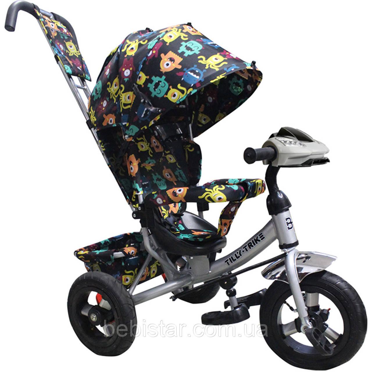 Детский трехколесный велосипед музыка свет TILLY Trike T-363-4/1 надувные колеса серый