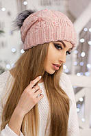 Вязаная шапочка с помпоном Лоран пудра