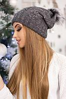 Вязаная шапочка с бусинами Лоран темно-серая