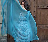 Шарф шелковый цвета морской волны Дом Шарфов, фото 1
