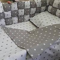 """Постельное в детскую кроватку """"Серые звезды """", фото 1"""