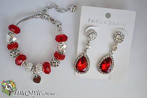 Набор Браслет Пандора и серьги Pandora красные красный цвет Сердце кристаллы камни вечерные