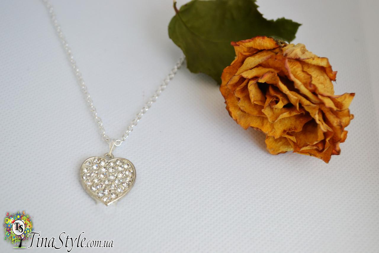 Подвеска кулон сердце стразы камни ажурное Изысканное кристаллы Шарм