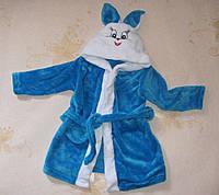 Дитячий махровий халат Зайчик, синій 30 (ріст 98-110см), фото 1