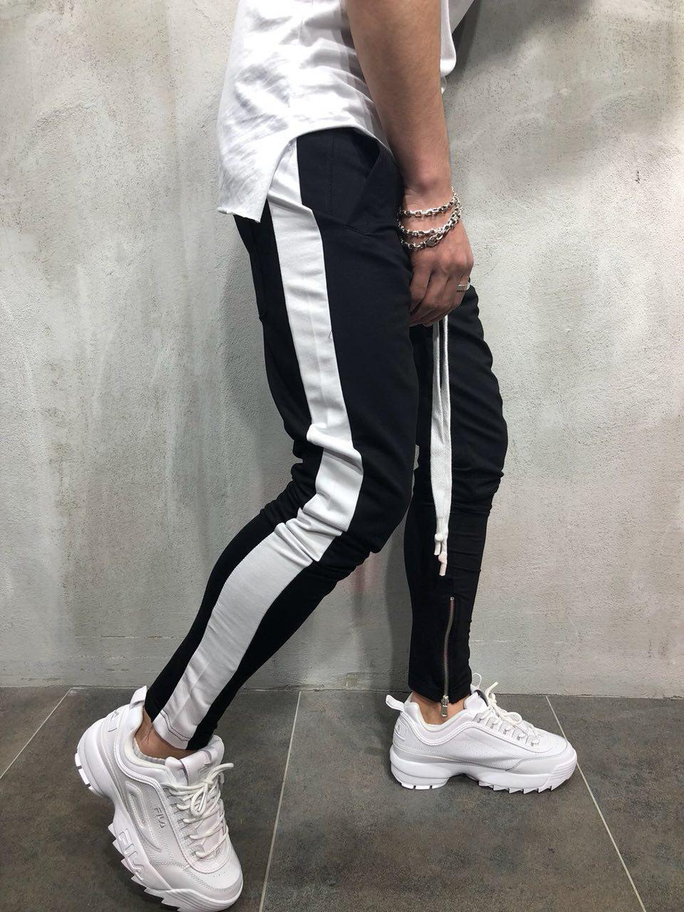189350bc Мужские спортивные штаны черные с белыми лампасами - Интернет-магазин обуви  и одежды KedON в