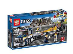 """Конструктор LEPIN """"CITIES"""", грузовик для перевозки драгстера, 360 дет., в кор.19*7см(38шт./2)"""