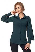 Классическая женская рубашка с пышными рукавами с жемчугом