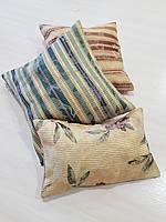 Комплект подушек  двусторонние цветы и полоски, 3шт, фото 1