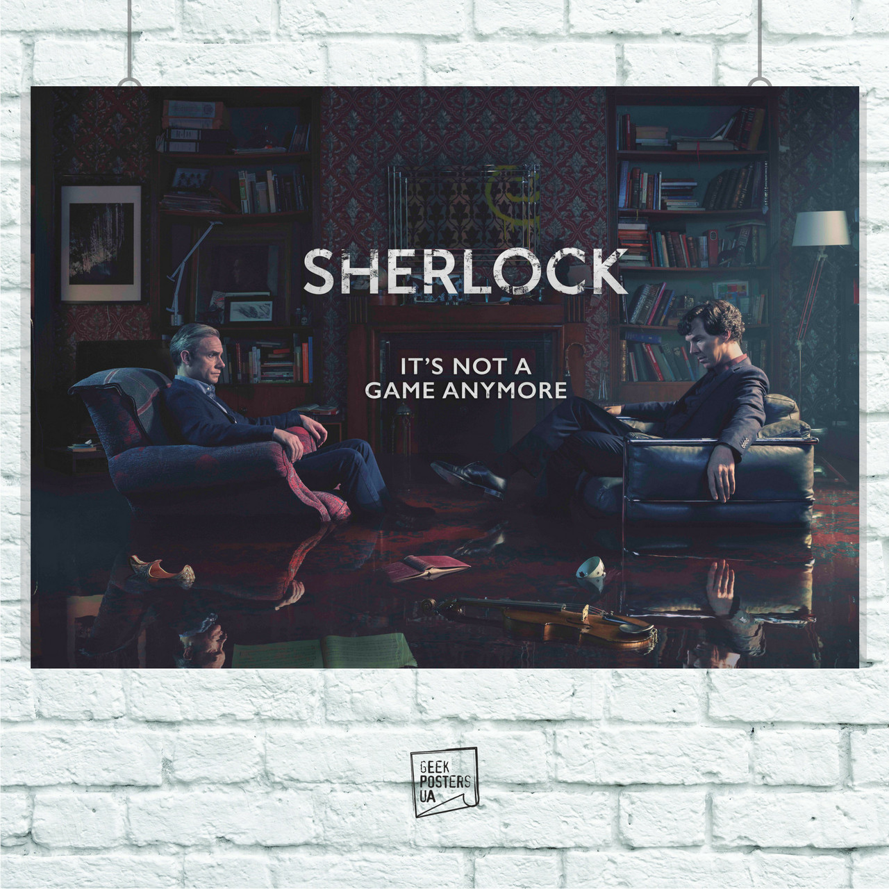 "Постер Шерлок Холмс, ""Not a game anymore"", Камбербетч Бенедикт, Sherlock. Размер 60x43см (A2). Глянцевая бумага"