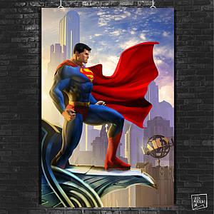 Постер Superman, Супермен. Размер 60x42см (A2). Глянцевая бумага