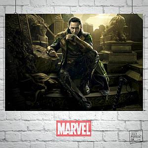 Постер Локи из фильма Тор: Тёмный Мир. Размер 60x42см (A2). Глянцевая бумага