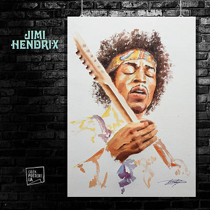 Постер Jimi Hendrix, Джимми Хендрикс. Размер 60x42см (A2). Глянцевая бумага, фото 2