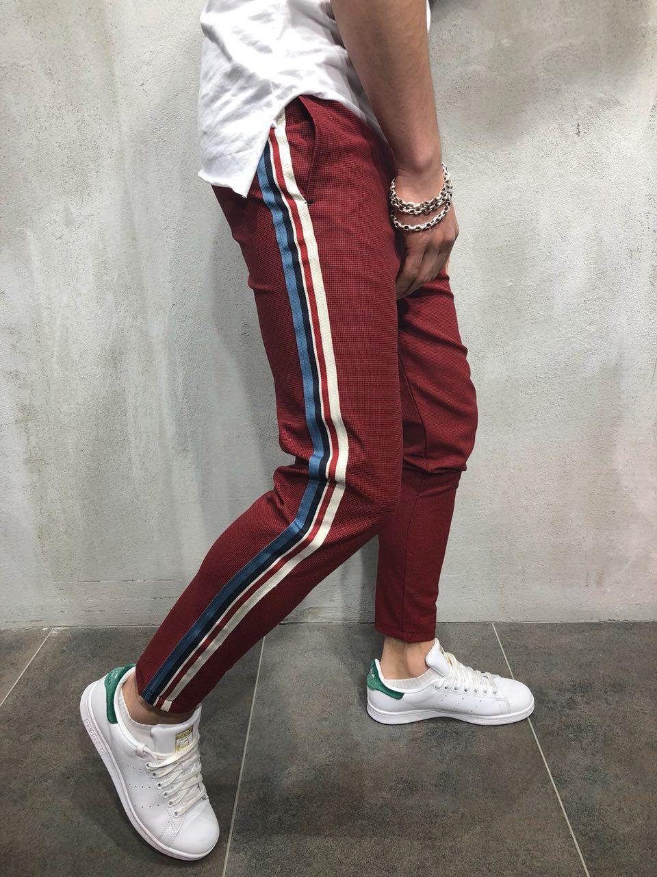 Мужские модные брюки бордовые с лампасами