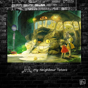 "Плакат ""Totoro, Мой сосед Тоторо. Котобус"", Хаяо Миядзаки, аниме. Размер 60x42см (A2). Глянцевая бумага"