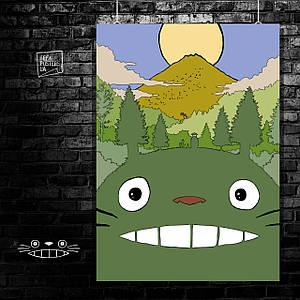 Постер Тоторо на фоне горы. Мой сосед Тоторо, Хаяо Миядзаки, аниме. Размер 60x42см (A2). Глянцевая бумага