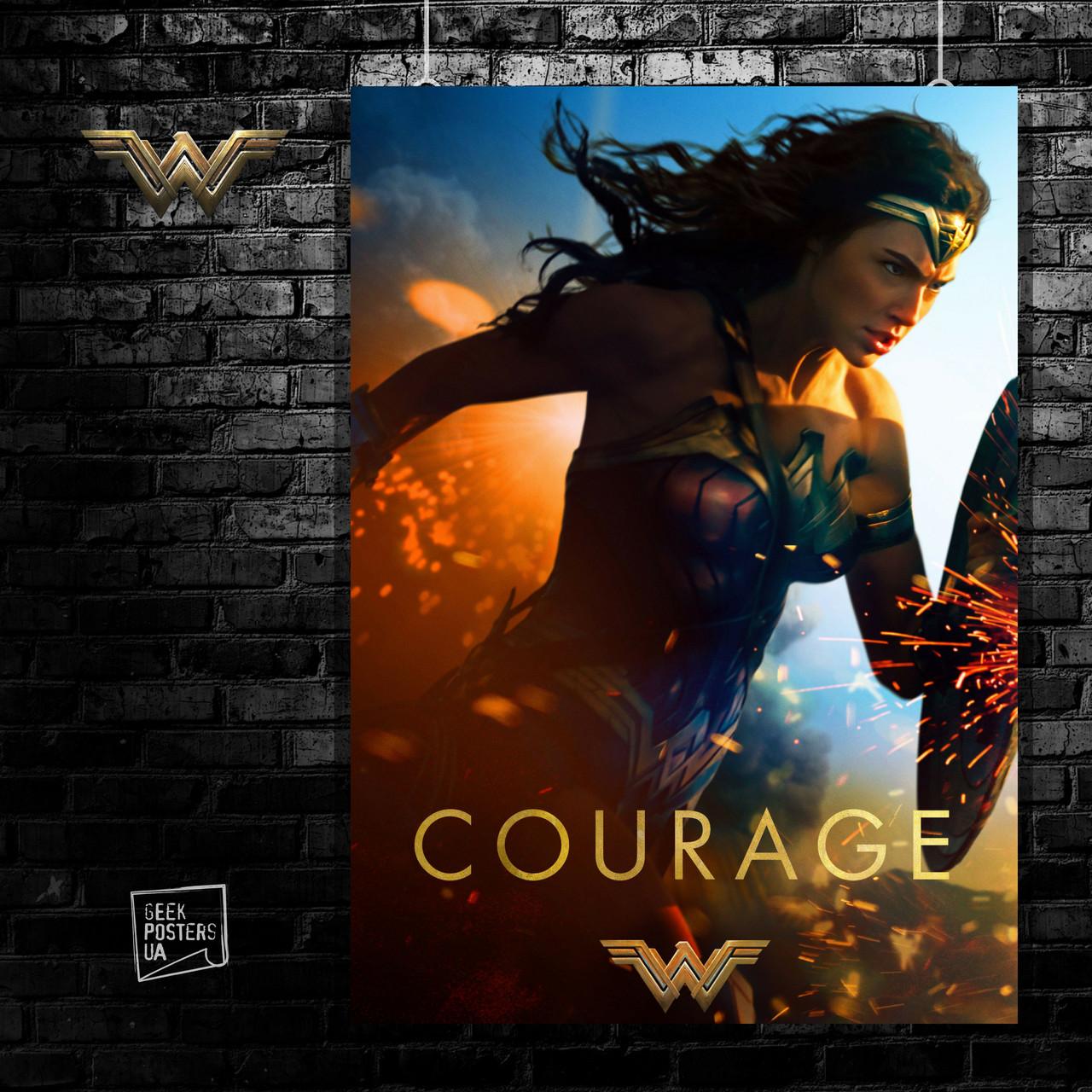 Постер Wonder Woman, Чудо-женщина. Размер 60x40см (A2). Глянцевая бумага