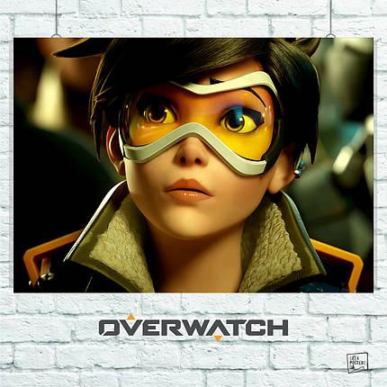 Постер Трейсер из Overwatch, Овервотч, Дозор. Размер 60x42см (A2). Глянцевая бумага, фото 2