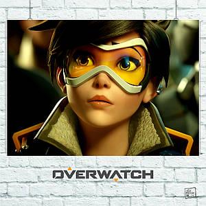 Постер Трейсер из Overwatch, Овервотч, Дозор. Размер 60x42см (A2). Глянцевая бумага