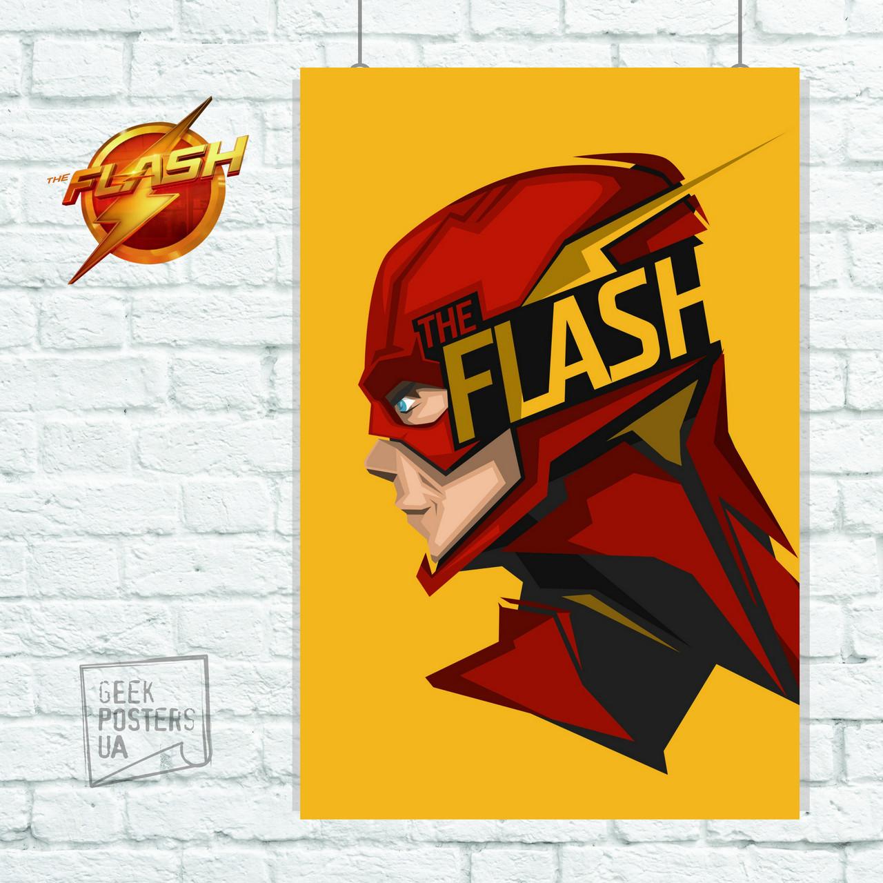Постер Flash, Флэш, на жёлтом фоне. Размер 60x43см (A2). Глянцевая бумага
