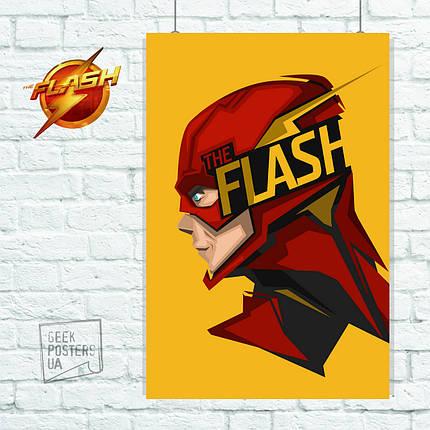 Постер Flash, Флэш, на жёлтом фоне. Размер 60x43см (A2). Глянцевая бумага, фото 2