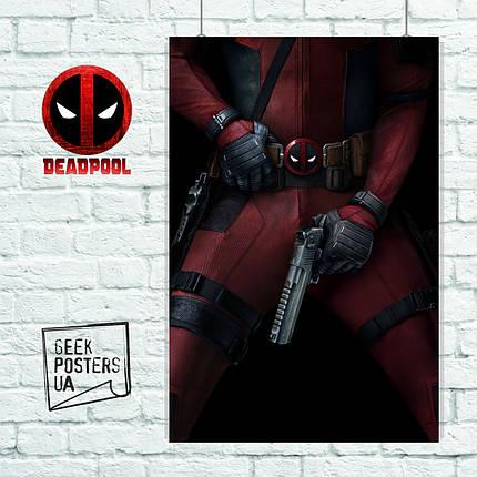 Постер Deadpool, Дэдпул, Дедпул с пистолетом в штанах. Размер 60x42см (A2). Глянцевая бумага, фото 2