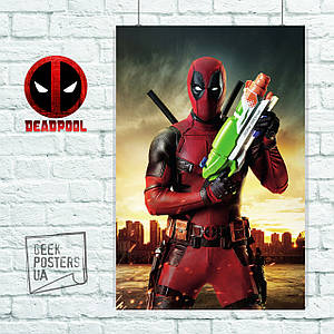 """Постер """"Дэдпул с детской пушкой / Deadpool"""", Marvel. Размер 60x42см (A2). Глянцевая бумага"""